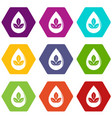 drop eco icons set 9 vector image