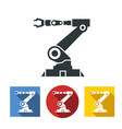 flat icons robotic hand machine tool at vector image
