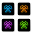 glowing neon two crossed hammers icon isolated on vector image vector image