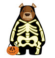 halloween cartoon bear in glow vector image vector image