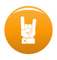hand rock icon orange vector image