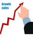 hand with graph profit concept growing business vector image vector image