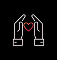 hands with heart colorful outline icon or vector image