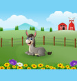 happy donkey cartoon in the farm with green field vector image vector image