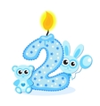 Happy Second Birthday Candle and Animals Isolated vector image