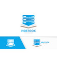 host and open book logo combination server vector image vector image