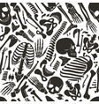 human skeleton seamless pattern with skulls vector image vector image