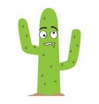 isolated confused cactus cartoon vector image vector image