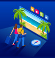 isometric summer vacation concept online ticket vector image vector image