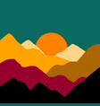 landscape with mountains and sun sunset vector image