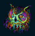 long-eared owl abstract multicolored graphic vector image vector image