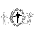 man comes to the cross and goes out a new man vector image vector image