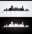 nagasaki skyline and landmarks silhouette vector image vector image