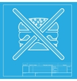 No burger sign White section of icon on blueprint vector image