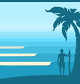 ocean waves and surfer man on tropical island vector image vector image