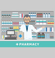pharmacist standing behind casheir counter vector image vector image