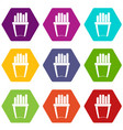 portion of french fries icon set color hexahedron vector image vector image