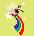 roller-girl rushes along the rainbow vector image vector image