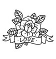 rose tattoo with ribbon and word love vector image vector image