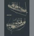sailing yacht drawings vector image vector image