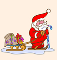 Santa Claus on skis with sled vector image