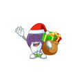 santa with gift acai berries character for fresh vector image vector image