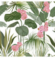 seamless floral tropical print with exotic orchid vector image