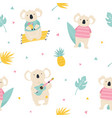seamless pattern with koalas summer icons vector image