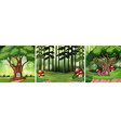 set of fairy tale forest vector image