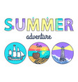 summer adventure promo banner with round seascapes vector image