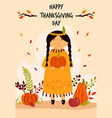 thanksgiving day greeting card with cute indian vector image vector image