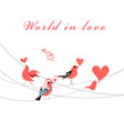 valentine greeting card with birds in love vector image vector image