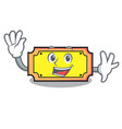 waving ticket character cartoon style vector image vector image
