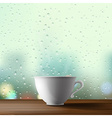 white cup on the background of a window vector image vector image