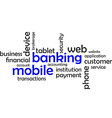 word cloud mobile banking vector image vector image