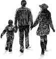 young family on a walk vector image vector image