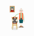 elderly woman and cat in chair vector image