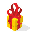 Gift box with bow Yellow box and red tape vector image