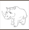 rhinoceros black and white contour for coloring vector image