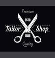 tailor shop salon scissors and sewing stitch