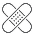 adhesive plaster line icon emergency and medicine vector image