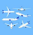 aircraft airplane top side and front view vector image
