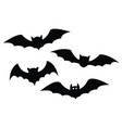 black bats set on a white background vector image vector image