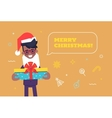 Black businessman in santa hat giving gift vector image