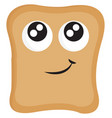 bread slice with big eyes and smilling mouth on vector image