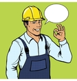 Builder man shows ok sign pop art style vector image vector image