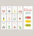 calendar 2019 cute monthly calendar vector image vector image