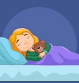 cartoon little girl sleeping with stuffed bear vector image vector image