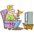 Cartoon man watching television vector image vector image