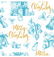 christmas seamless background with holiday vector image vector image